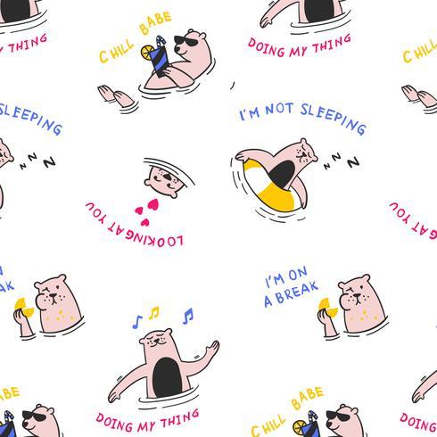 Patrón de oso de natación de dibujos animados dibujados a mano vector