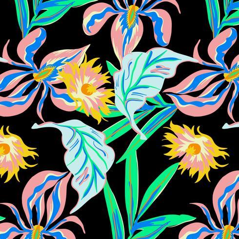 Hand getekend neon vetgedrukt grote bloesem bloemmotief vector