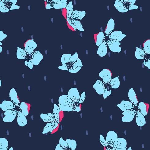 Hand getekend vet papaver bloemenpatroon vector