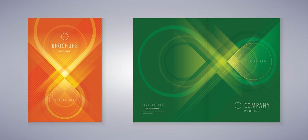Conjunto de capa de livro de símbolo de infinito verde e vermelho vetor