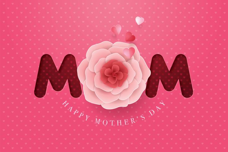Paper Mother Day Flower Happy Mothers Day card vector