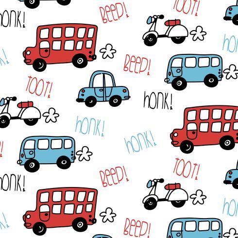 Hand getekend bus- en auto patroon vector