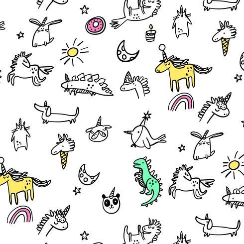 Hand getekende lijn cartoon feestneuzen patroon vector