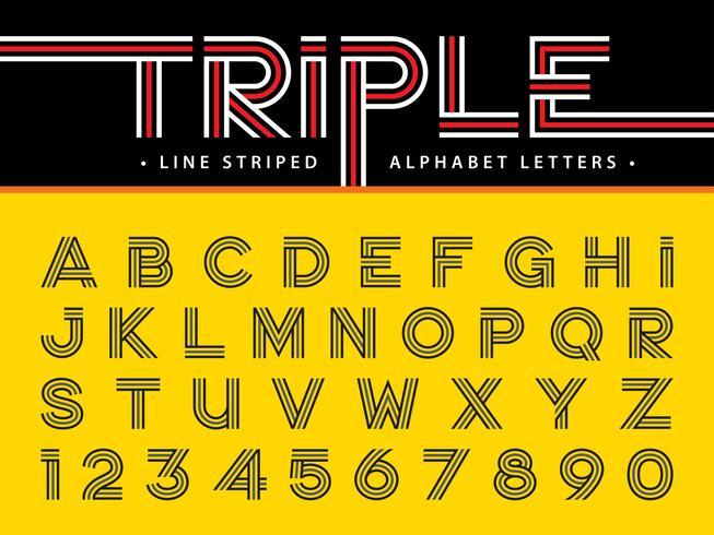 Triple Line  Alphabet Letters and numbers