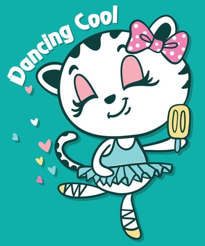 Dibujado a mano lindo gato bailando con la ilustración de paletas vector