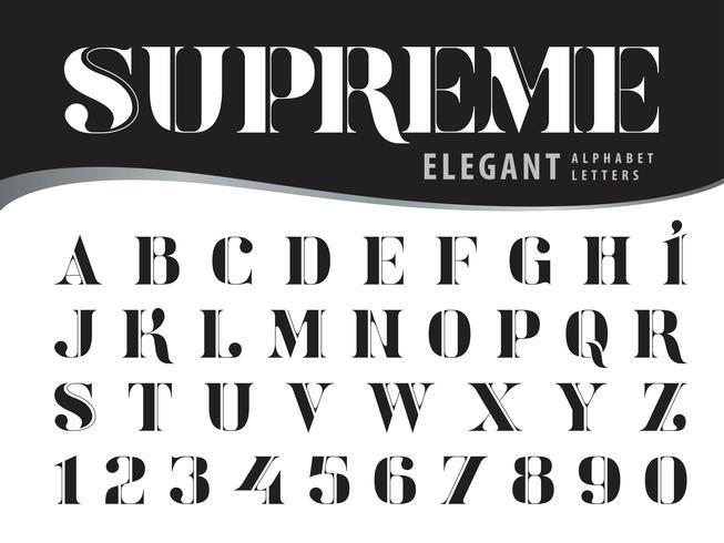 Supreme Elegant Alfabetletters en cijfers vector