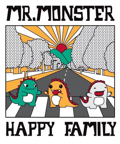 Hand drawn cute monster family crossing the street illustration vector