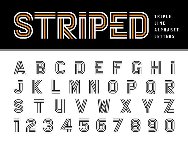 Alfabeto rayado Letras y números