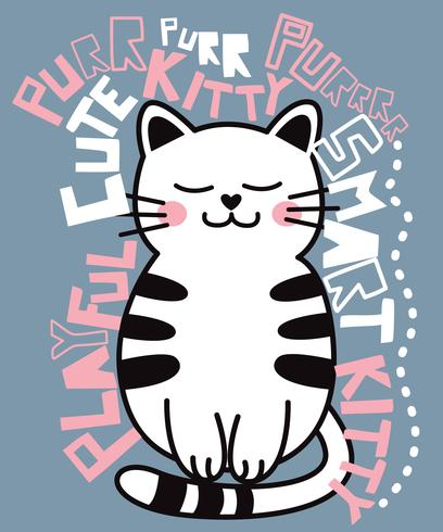 Gatto sveglio disegnato a mano circondato dall'illustrazione di parole vettore