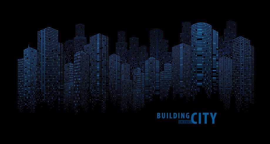 Pano Building abstrait bleu vecteur