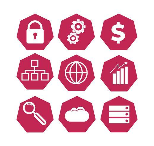 set van rode technologie iconen vector
