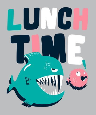 Hand getekend grote vis eten kleine vis illustratie vector
