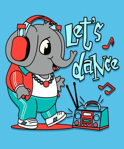 Dibujado a mano linda ilustración de elefante bailando vector