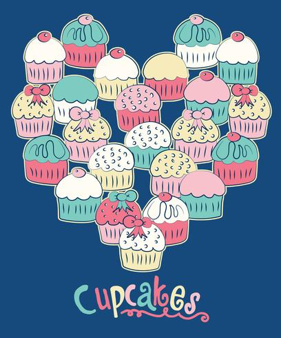 Cupcakes disegnati a mano nell'illustrazione di forma del cuore vettore