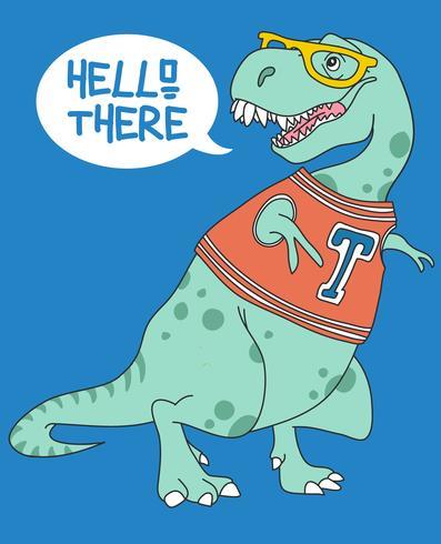 Handritad gullig illustration för dinosaurie som bär skjorta och exponeringsglas
