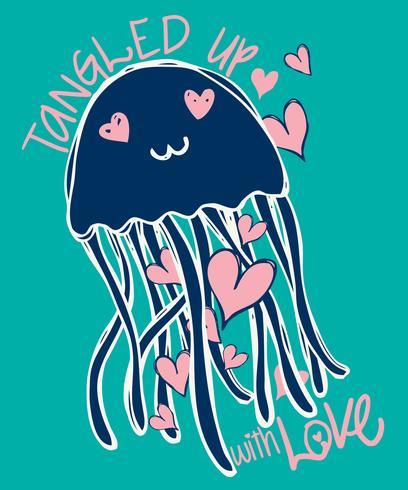 Illustrazione di doodle di meduse carino disegnato a mano vettore