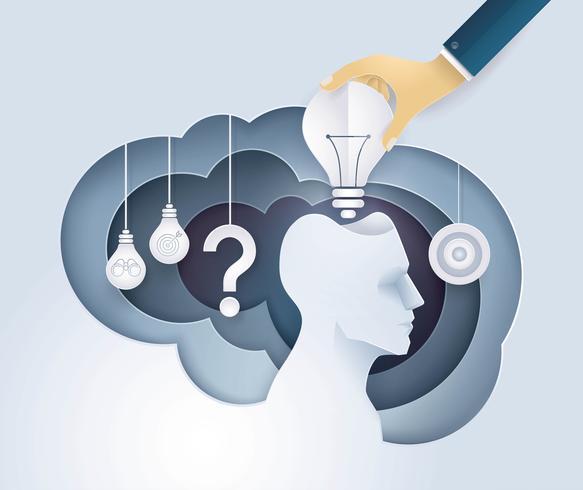Hand putting a light bulb in Human head  vector