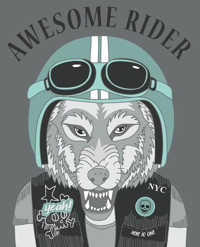 Dibujado a mano lobo fresco con casco y texto ilustración vector