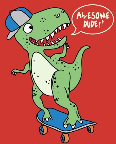 Hand getekend schattige dinosaurus op skateboard illustratie vector