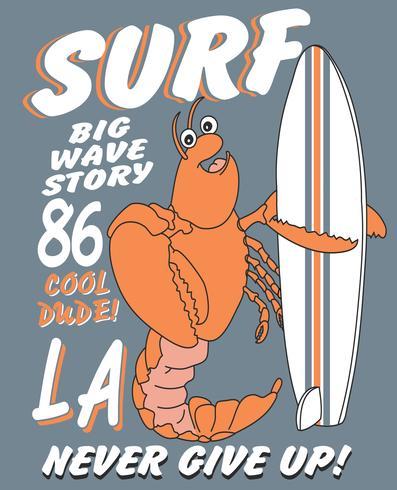 Mão desenhada camarão bonito com ilustração de prancha de surf vetor