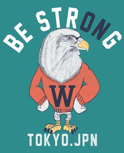 Dibujado a mano águila fresca con ilustración de suéter vector