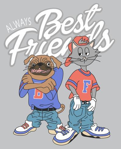Cane e gatto freschi disegnati a mano con l'illustrazione all'indietro dei vestiti