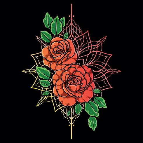 Rotrosenblumen-Vektorhintergrund vektor