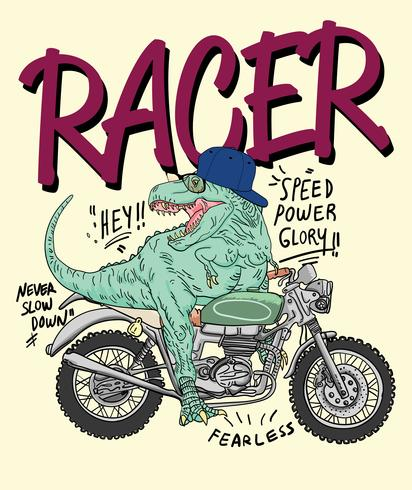 Dinosauro su un'illustrazione di moto