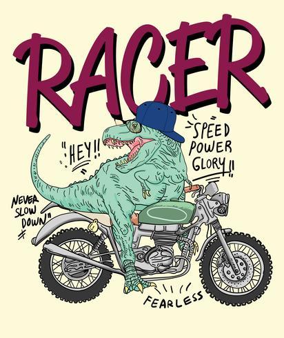 Dinosaur on a motorcycle illustration vector
