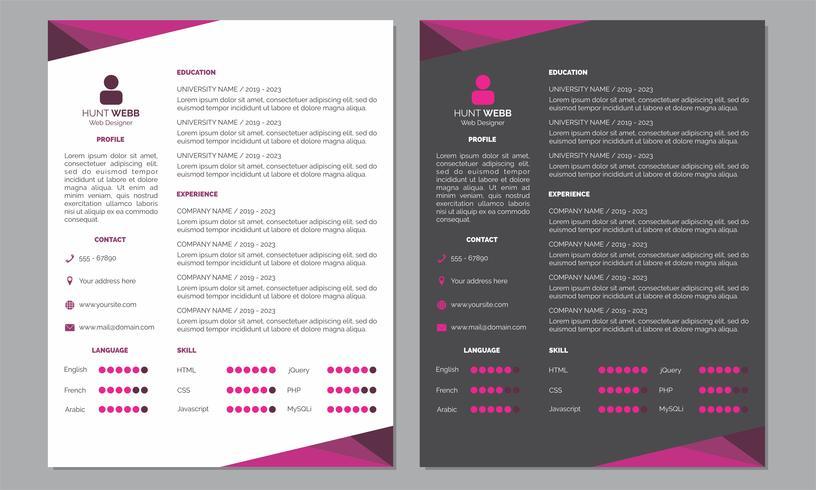 Curriculum Vitae Curriculum vitae Limpio y color rosa oscuro