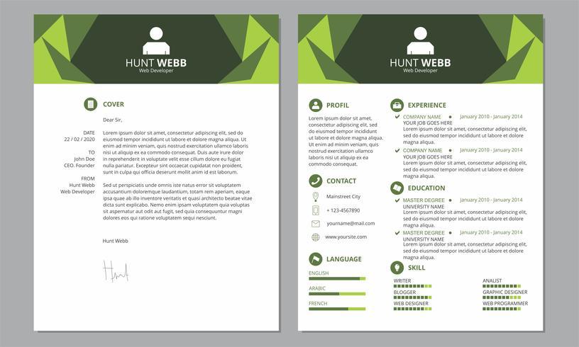 Currículum CV Tapa Limpiar Encabezado Color verde vector