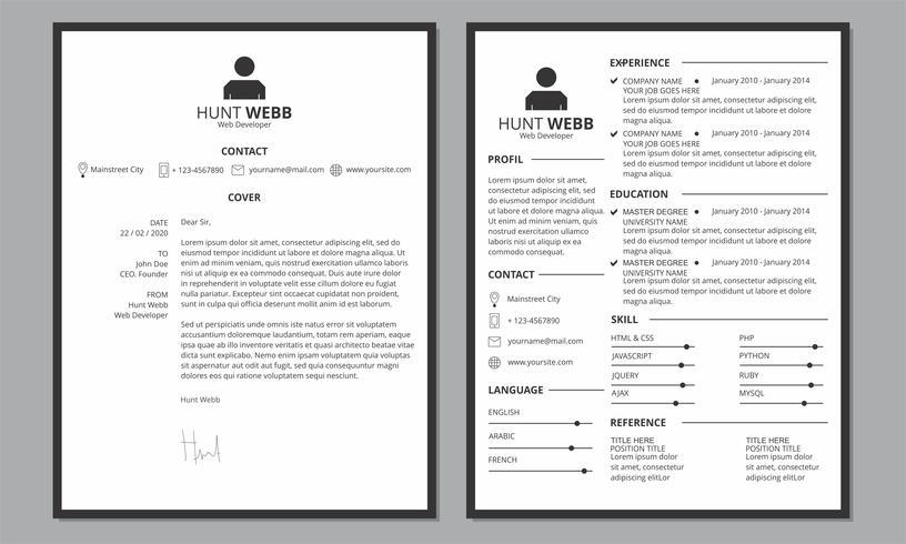 CV CV Cover schoon zwarte rand vector