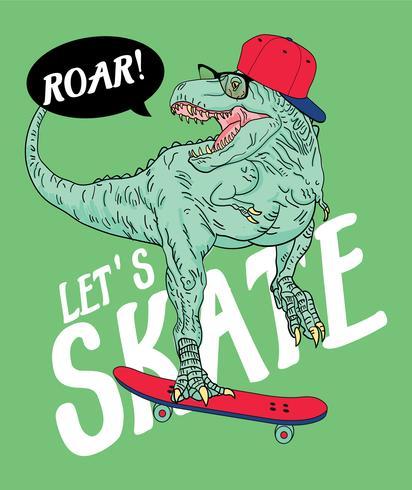 Illustration de dinosaure patineur dessiné à la main vecteur