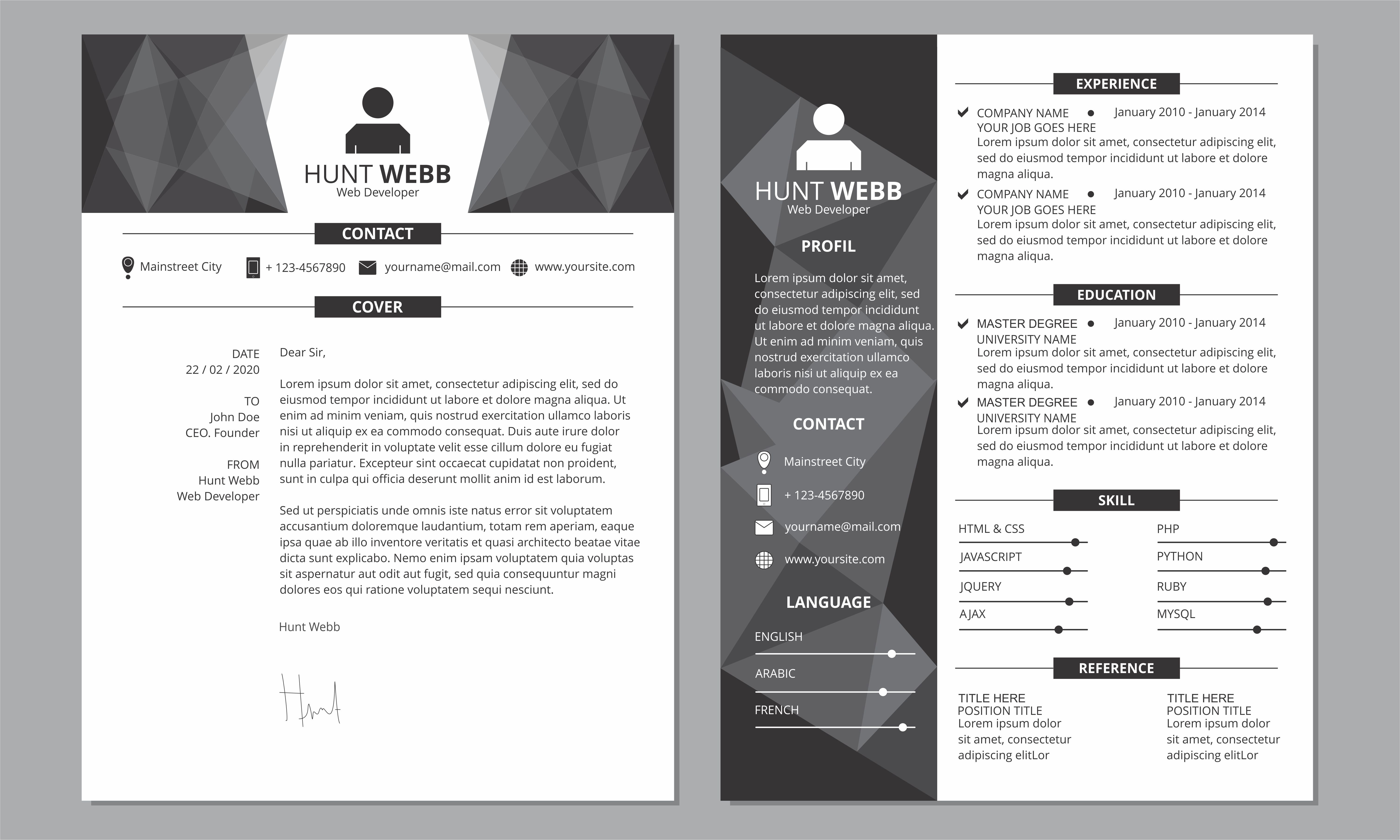 cv resume dark side and cover dark header