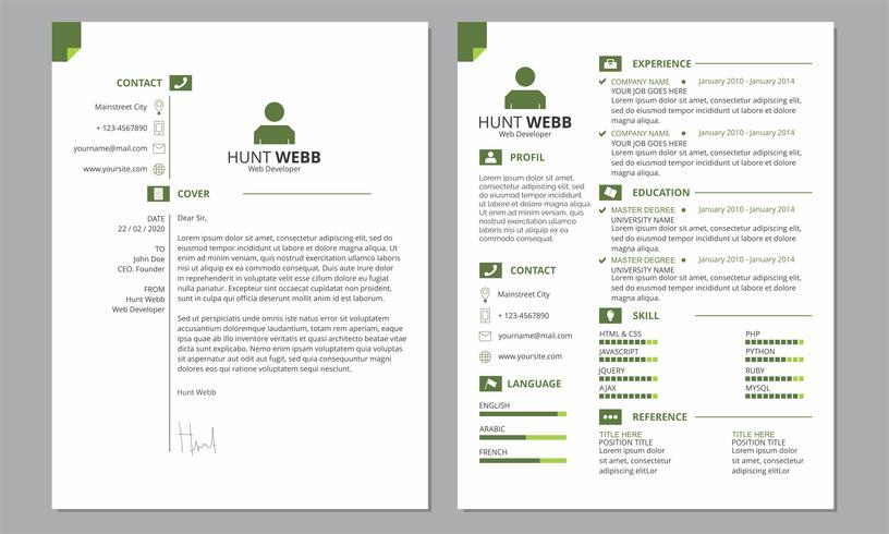 Currículum CV Cubierta Limpia Color Verde vector