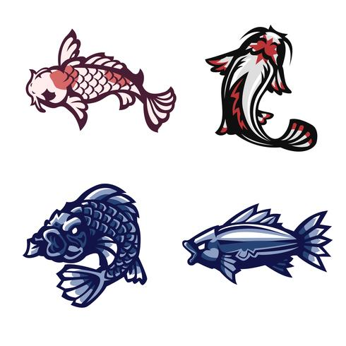 Pez, Koi, conjunto de logotipo de mascota vector