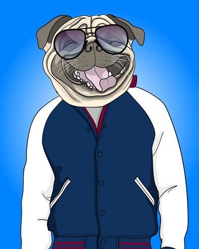 Hand gezeichnete kühle lächelnde Hundeillustration