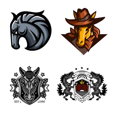 Horse, Set of mascot logo