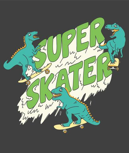 Hand drawn dinosaur illustration for t-shirts vector