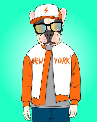 Hand drawn cool dog with hat and jacket illustration