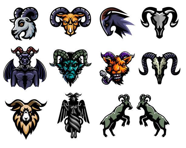 Conjunto de diseño de etiqueta de cabra