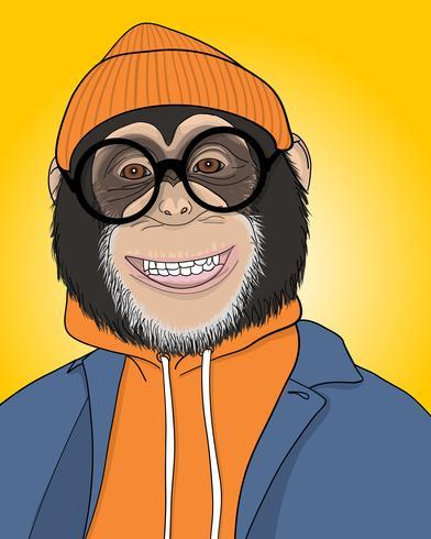 Dibujado a mano fresca ilustración mono sonriente vector