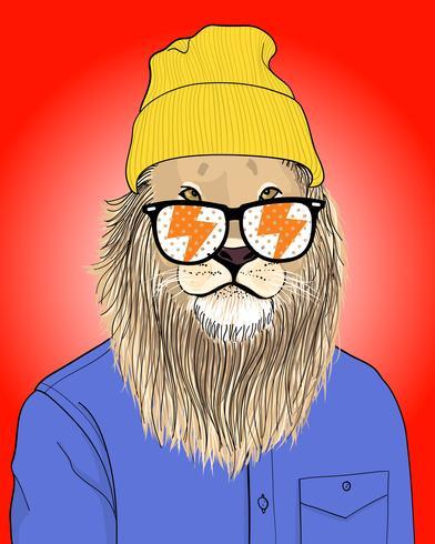 Main dessinée lion cool avec illustration de lunettes de soleil et bonnets vecteur