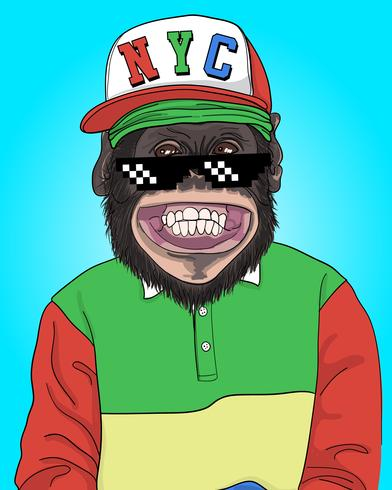 Hand drawn cool monkey with NYC hat illustration