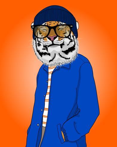 Hand drawn cool smiling tiger illustration vector