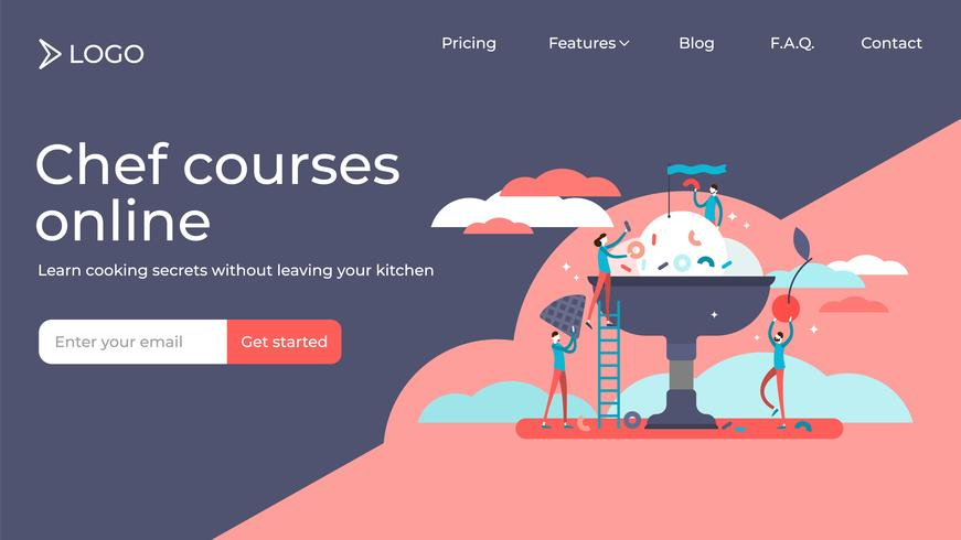 Cooking course landing page template design vector