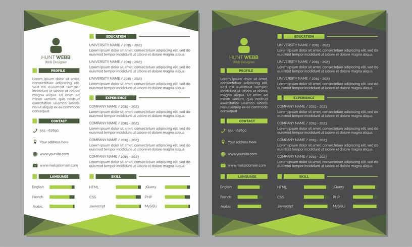 Curriculum Vitae Résumé Modèle de couleur vert clair et propre vecteur