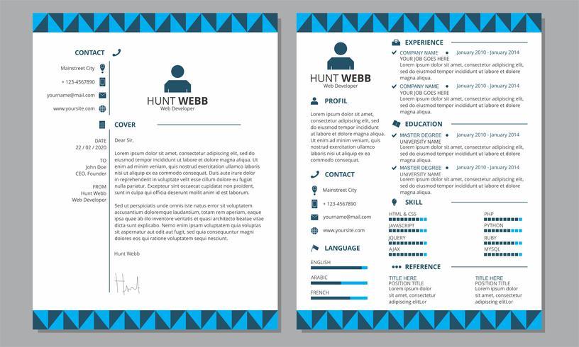Curriculum Vitae Curriculum Vitae Portada Azul Encabezado Pie de página Plantilla vector
