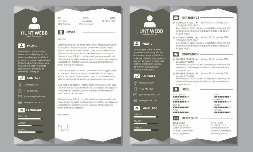 Curriculum Vitae Currículum Vitae Blanco Negro Encabezado Pie de página vector
