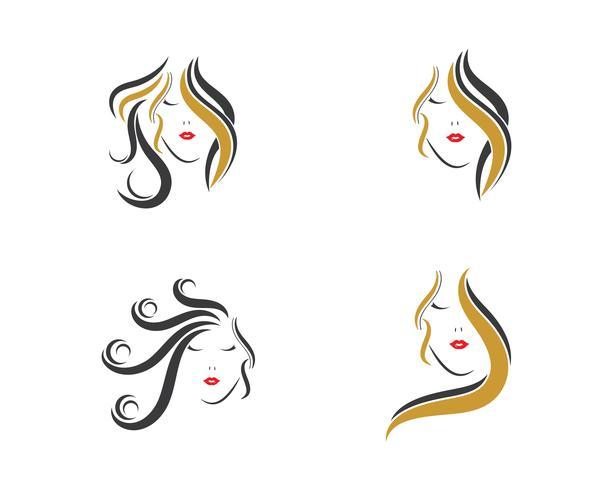 kvinna hår Ikonuppsättning vektor